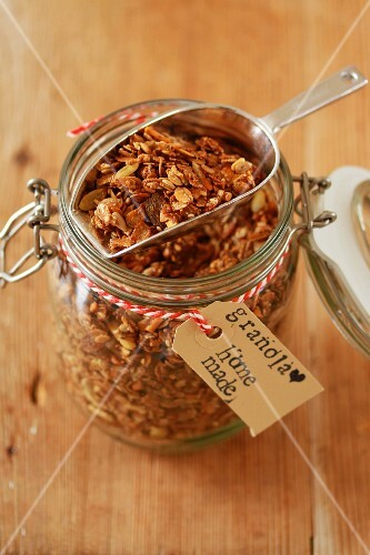 Home-made cereal in a storage jar