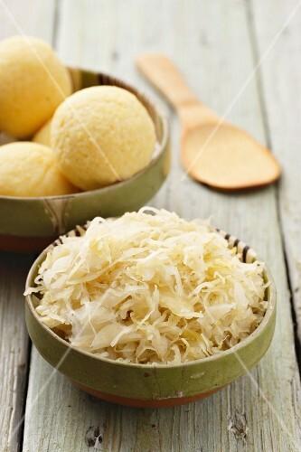 Sauerkraut and potato dumplings