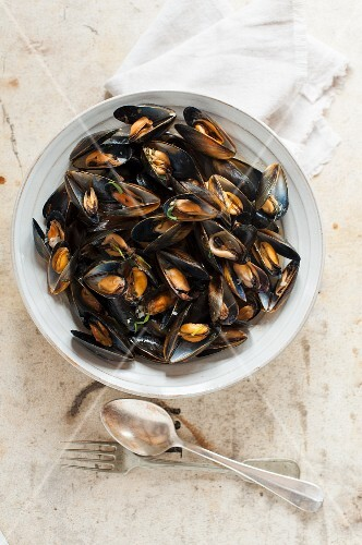 Cooked mussels in a bowl