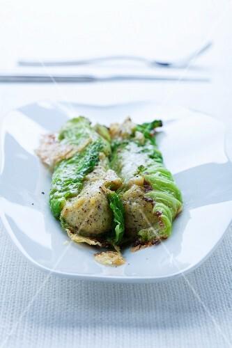 Involtini con la polenta taragna (Wirsingröllchen mit Polenta-Buchweizen-Füllung)
