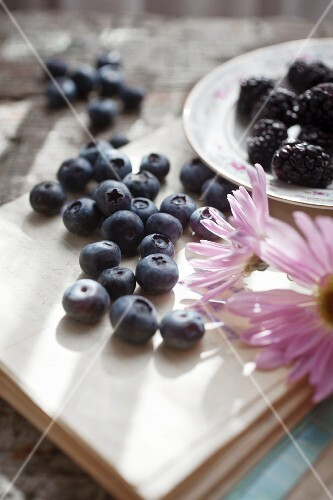 A summer still life of blueberries, blackberries and flowers