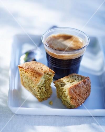 Yuzu and green tea financier cake and a caffè crema