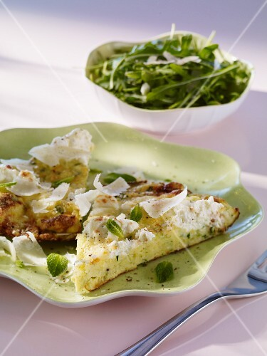 A ricotta omelette with Grana Padano and mint