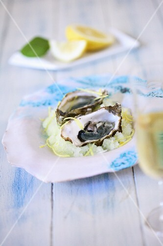 Fresh oysters on a bed of lemon granita