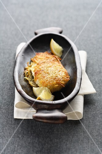 Chicken breast fillet in a potato crust