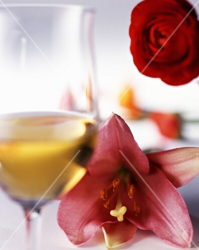 White wine and fragrant flowers