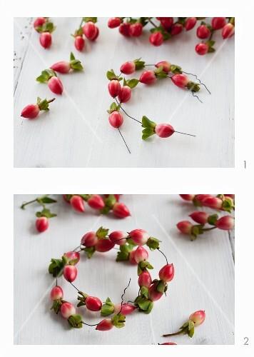 Miniature wreaths being made from hypericum berries