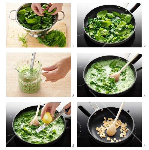 Creamed spinach being prepared