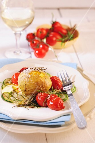 Baked potato and baked tomatoes