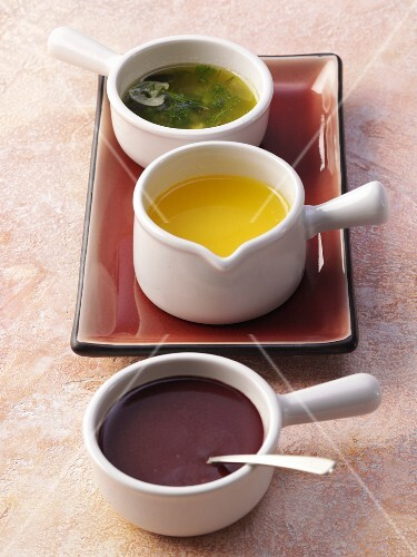 Three different butter sauces