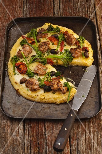Polenta pizza with sausage and vegetables