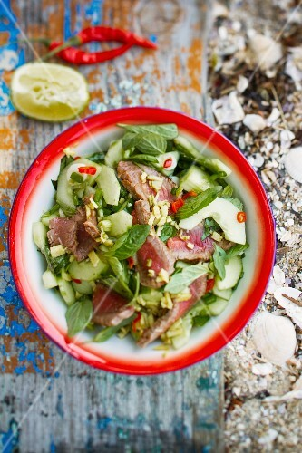 Beef salad with basil
