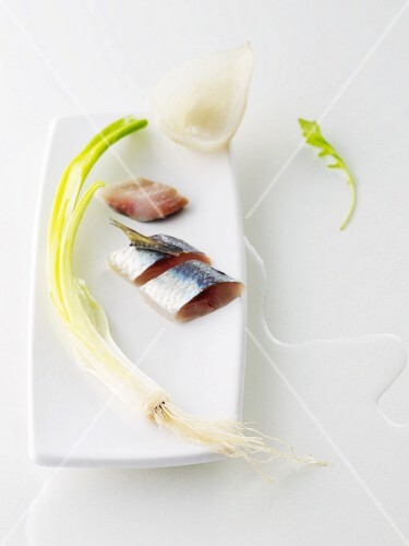 Sardines with spring onions and steamed fennel