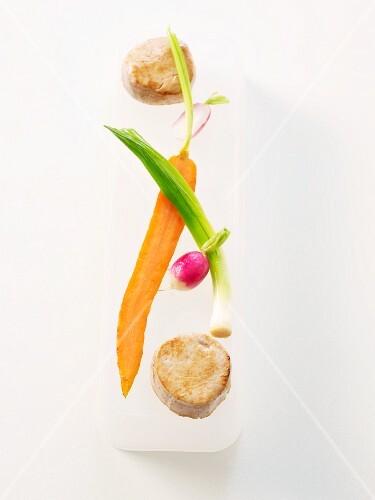 Veal fillet with preserved lemon and vegetables