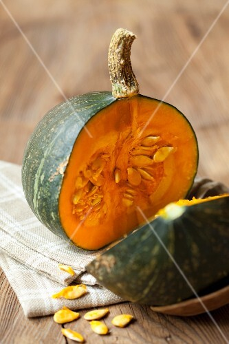 A halved winter squash