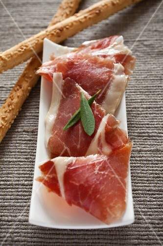 Serrano ham with grissini