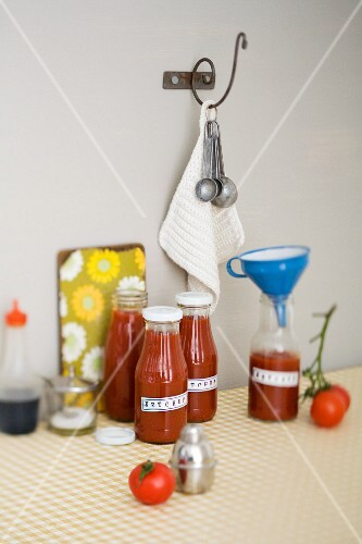 Bottles of home-made Thai ketchup