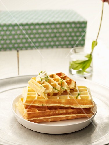 Mojito waffles with lime zest