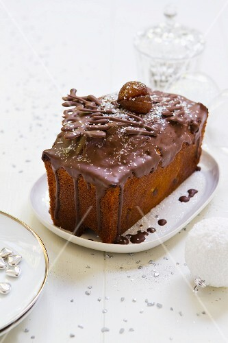 Chestnut cake with chocolate icing for Christmas