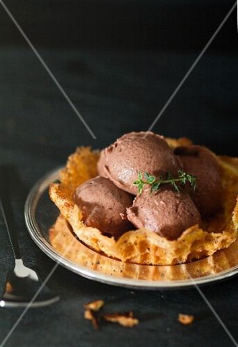 Chocolate ice cream in a waffle