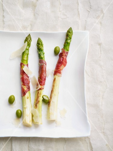 Asparagus wrapped in coppa (dry-cured pork neck)