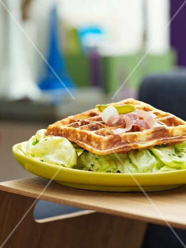Potato waffles with ham and lettuce