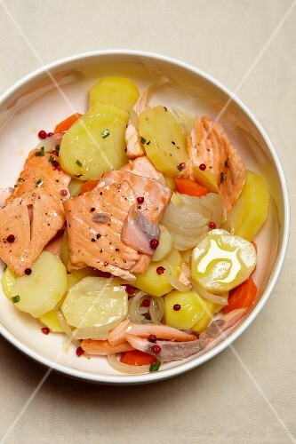 Potato salad with salmon and herring