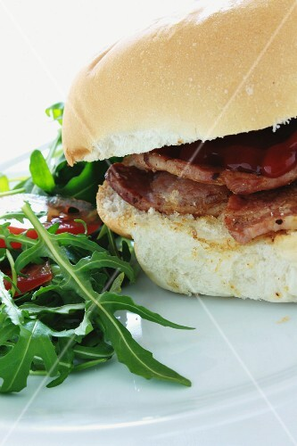 Bacon and rocket salad roll