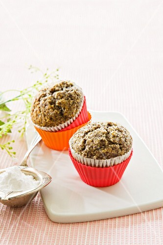Two poppy seed muffins