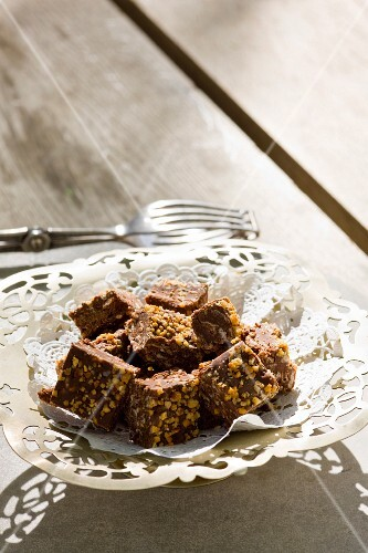 Truffle squares with walnuts