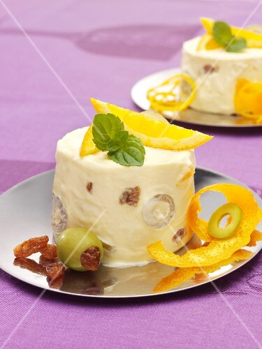 Orange parfait with olives