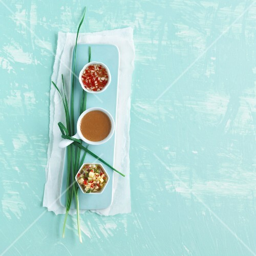Three Asian dips: Nuoc mam, peanut sauce and pineapple dip