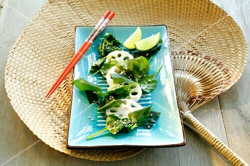 Seaweed salad, lotus roots, spinach and sesame