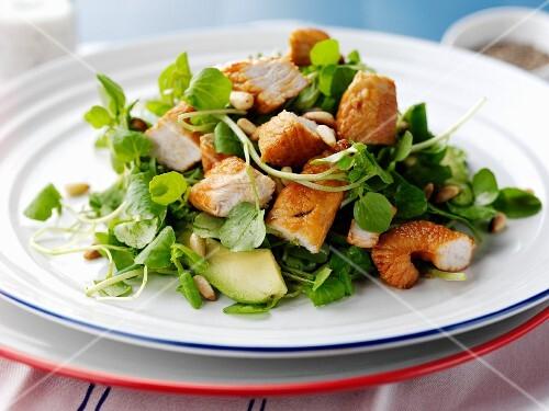 Chicken teriyaki and avocado salad