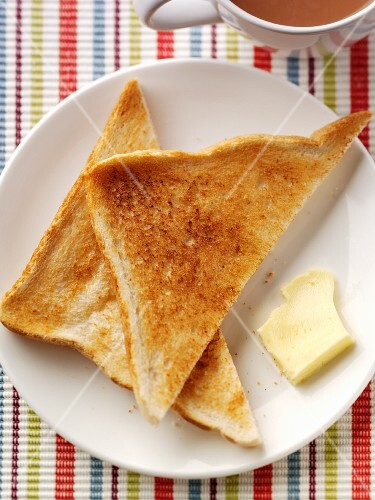 Toast with butter and tea