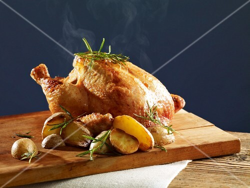 Rosemary chicken with oven potatoes