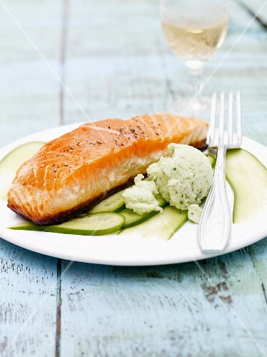 Salmon fillet, pan fried on one side and cucumber sorbet