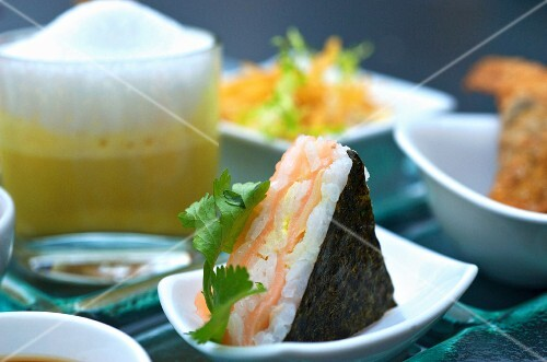 A sushi triangle with salmon