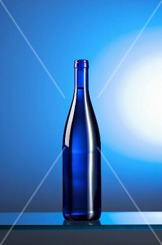 A blue water bottle