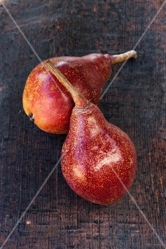 Two Dark Red Pears