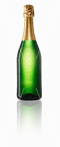 Champagne bottle with drops of water