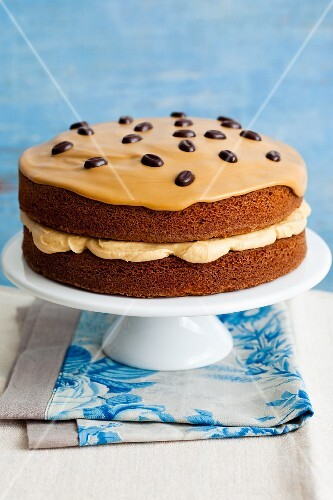 Coffee cake with coffee beans