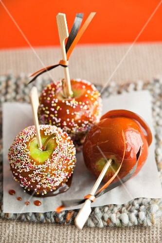 Three toffee apples