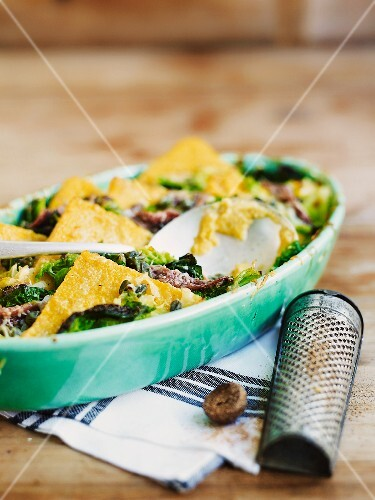 Gratin of polenta, savoy cabbage and anchovies