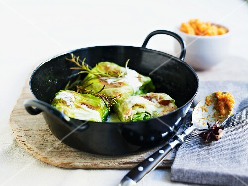 White cabbage parcels with sweet potato mash