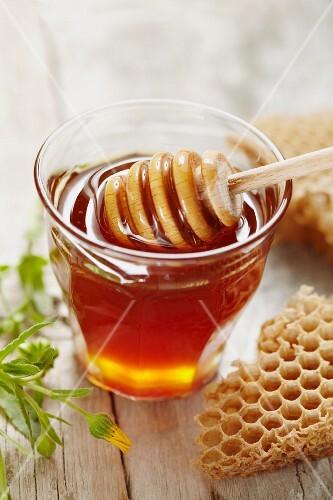 Honey and honey dipper in glass