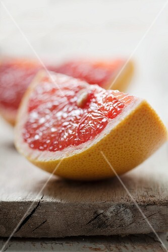 Two, large grapefruit wedges