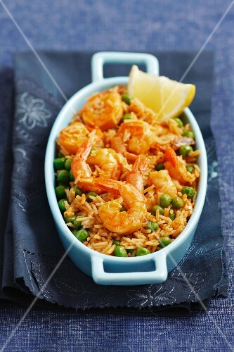 Rice with peas and prawns