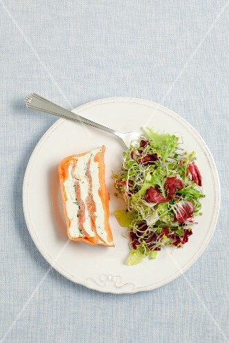 Smoked salmon and cream cheese terrine served with salad