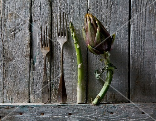 Artichoke, asparagus and rusty forks against a rustic wooden wall